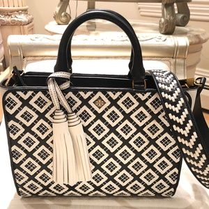 NWT Tory Burch Robinson Woven-Leather Zip Satchel